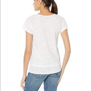 Sanctuary White Basic V Cutout Short Sleeve Tee L